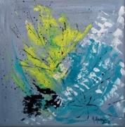 tableau abstrait carre abstrait bleu : Eclosion bleue