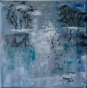 tableau paysages bleu aurore eau : Aurore sur l'étang