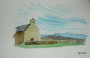 tableau paysages aquarelle chapelle oentagne pyrenees : La Chapelle