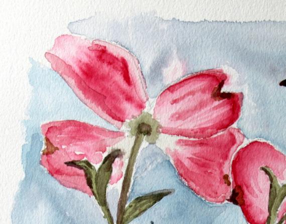 TABLEAU PEINTURE Aquarelle Fleur cornouiller Fleurs Aquarelle  - Fleur de Cornouiller