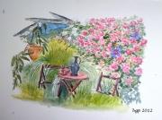 tableau paysages aquarelle rosier detente jardin : Sous le Rosier