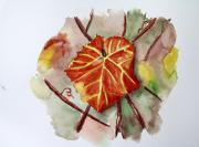 tableau fleurs aquarelle feuille vigne : Feuille de Vigne