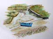 tableau paysages aquarelle barque maree basse bretagne : Marée basse