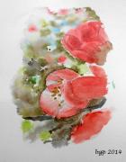 tableau fleurs aquarelle fleur coing du japon : coing du Japon