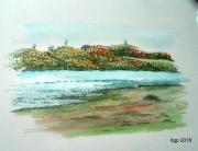 tableau paysages aquarelle lac eau automne : Lac de Bazas