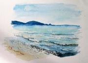 tableau paysages aquarelle plage mediterranee : Méditerranée