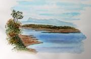 tableau paysages lac pyrenees automne eslourentis : Lac d' Eslourentis