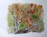 tableau fleurs aquarelle arbre chataignier automne : Arbre qui danse
