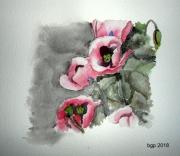 tableau fleurs aquarelle fleur pavot : Pavots