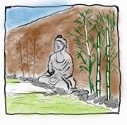 dessin paysages zen jardin bouddha oriental : Le jardin ZEN