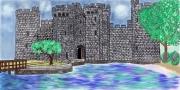 dessin paysages chateau eau nature printemps : Un château au bord de l'eau
