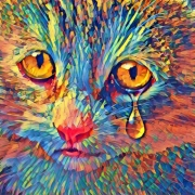 dessin animaux chat felin triste mosaique : tristesse féline