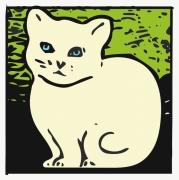 tableau animaux chat animaux felin nature : Un chat blanc