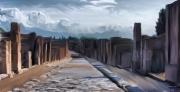 tableau paysages italie rue ancient rome : Une rue à Pompei