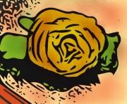 dessin fleurs rose or fleurs nature : Une rose d'or