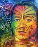 tableau personnages homme maori couleurs tatouage : KA ORA