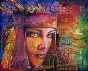 tableau personnages amerique ville indienne femme : NE HE MAH