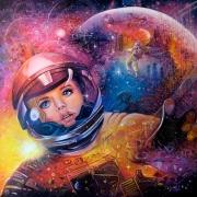tableau personnages astronomie astronaute espace fiction : Eva en apesanteur