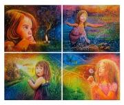 tableau personnages enfant eau terre feu air nature : LES 4 ELEMENTS