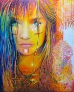 tableau personnages femme amazonie amerique centrale couleurs : Maya
