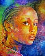 tableau personnages afrique enfant couleurs magnifique : INAYA