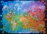tableau paysages monde voyage carte details : TOUR DU MONDE