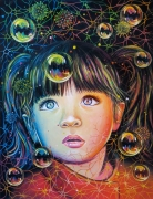 tableau personnages fille enfance corona covid : INSOUCIANCE