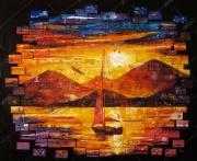 tableau paysages paysage colore morceaux fragments : Fragmentation
