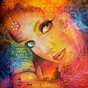 tableau personnages inde namaste femme bouddhisme : NAMASTE