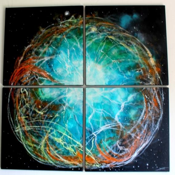 TABLEAU PEINTURE fantastique lumière féérique univers Abstrait Acrylique  - Crystalium