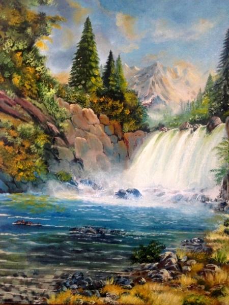 TABLEAU PEINTURE chute d'eau cascade paysage nature Paysages Peinture a l'huile  - La sérénité de l'instant...