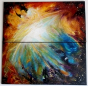 tableau abstrait espace lumiere fantastique feerique : Galaxia