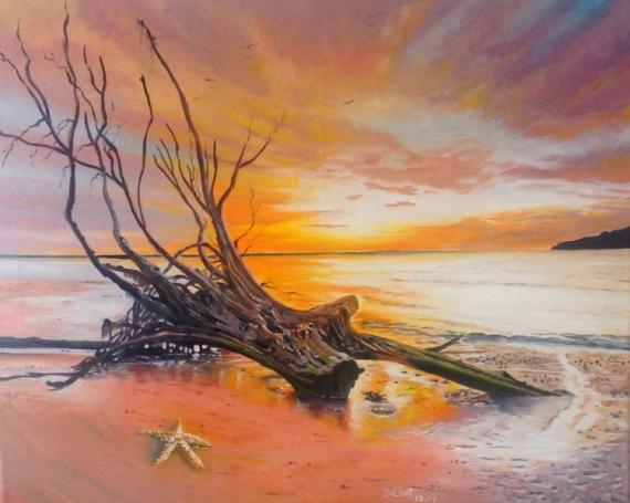 TABLEAU PEINTURE coucher de soleil vieil arbre plage étoile de mer Paysages Peinture a l'huile  - Le vieil arbre et l'étoile de mer