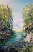 tableau paysages paysage fantastique nuage lumiere : Le sanctuaire