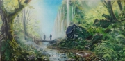 tableau paysages foret nature silhouettes lumiere : Les aventuriers