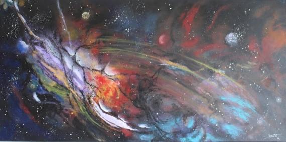 TABLEAU PEINTURE espace fantastique lumière féérique Abstrait Acrylique  - Barrière cosmique