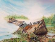 tableau marine paysage marine bateaux lumiere : Navires abandonnés