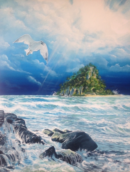 TABLEAU PEINTURE oiseau nuage mer lumière Paysages Peinture a l'huile  - Le voyage de l'oiseau