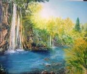 tableau paysages cascades nature lac lumiere : Sous le soleil