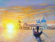 tableau paysages lever de soleil venise gondole lumiere : Ballade Vénitienne