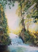 tableau paysages cascade nature contraste lumiere : Cascade et lumière