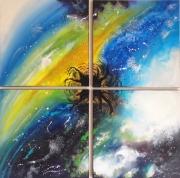 tableau abstrait espace texture etoile lumiere : Créature céleste