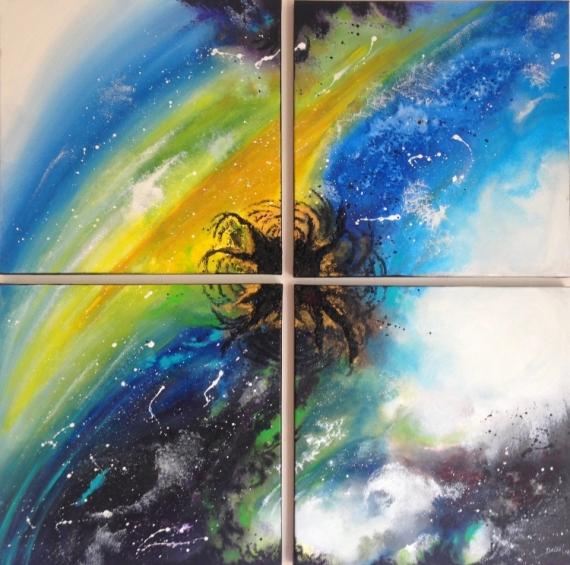TABLEAU PEINTURE espace texture étoile lumière Abstrait Acrylique  - Créature céleste