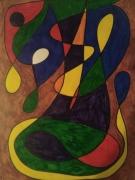 dessin abstrait multicolore abstrait animal imaginaire : Au bord de l'eau