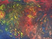 tableau abstrait renard cachecache multicolore texte : Malin comme le renard !...