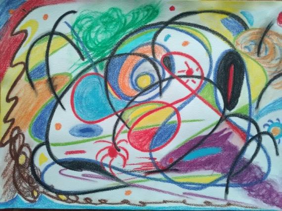 TABLEAU PEINTURE abstrait dragon imagination liberté Abstrait Aquarelle  - Le dragon
