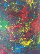 tableau abstrait multicolore liberte lacherprise main : L'intrus