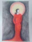 tableau personnages dame rouge noir soleil : La dame en rouge