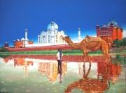 tableau scene de genre enfant chameau inde tajmahal : Taj-Mahal