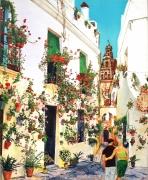 tableau personnages personnage fleur eglise rue : Les amoureux de Cordoba